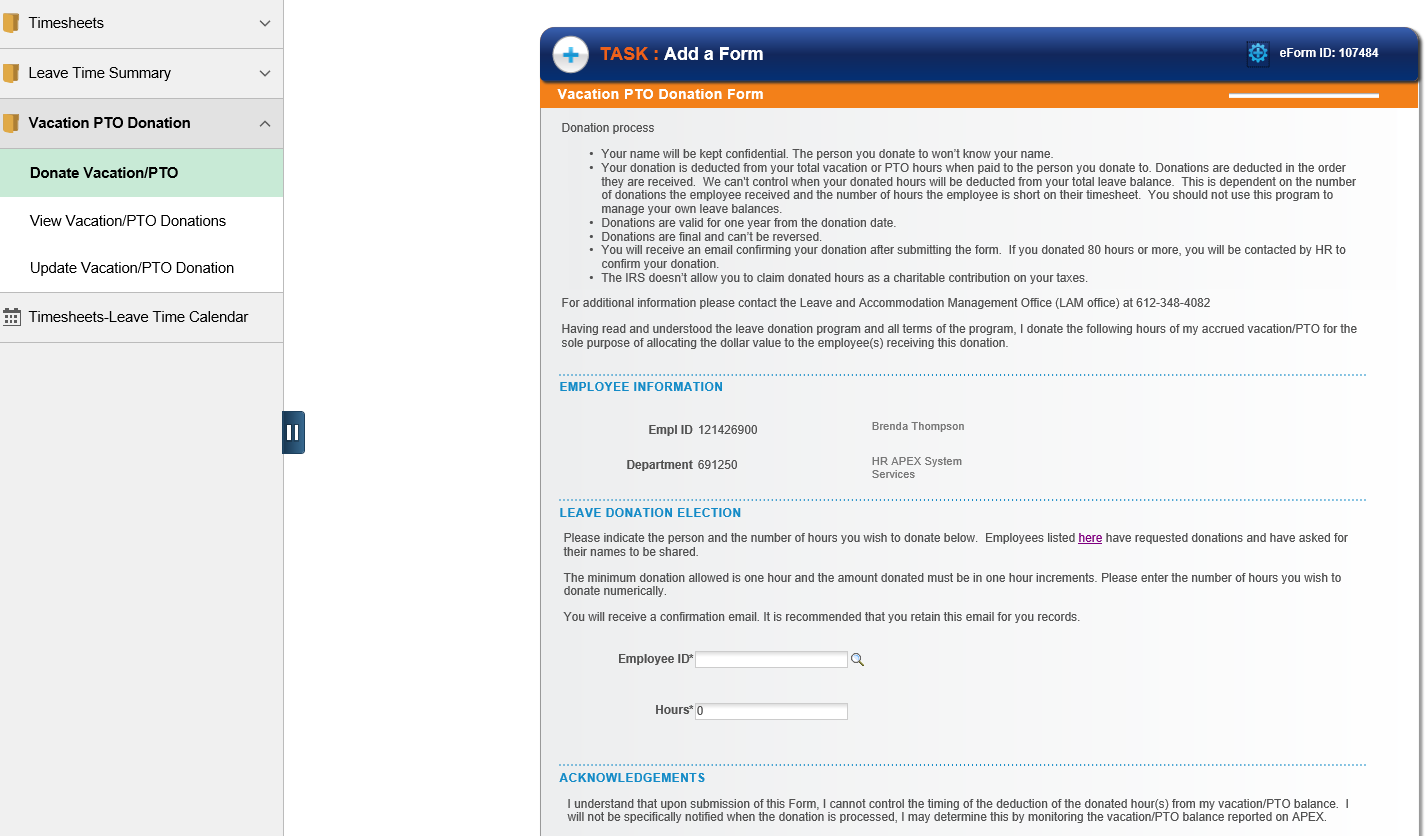 Image of vacation-PTO donation form