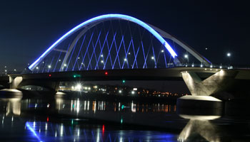 Lowry Avenue bridge lit at night