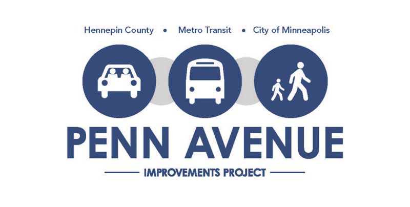 Penn Avenue Improvements Project logo shows a row of circular icons with a car, a bus and people walking.