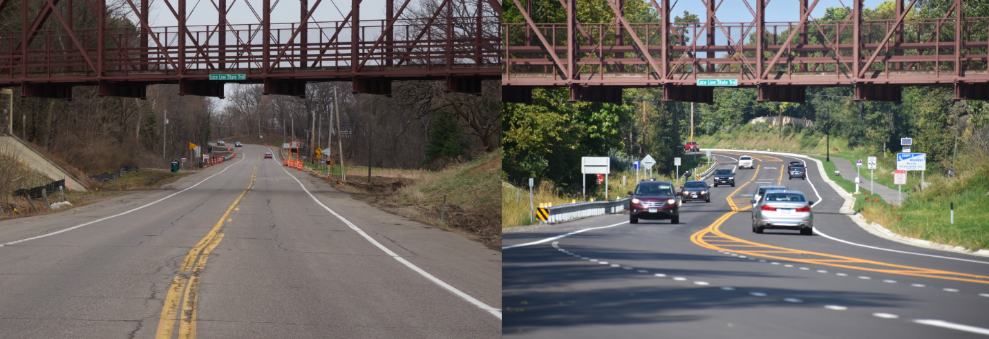 Before and after photo of Wayzata Boulevard reconstruction
