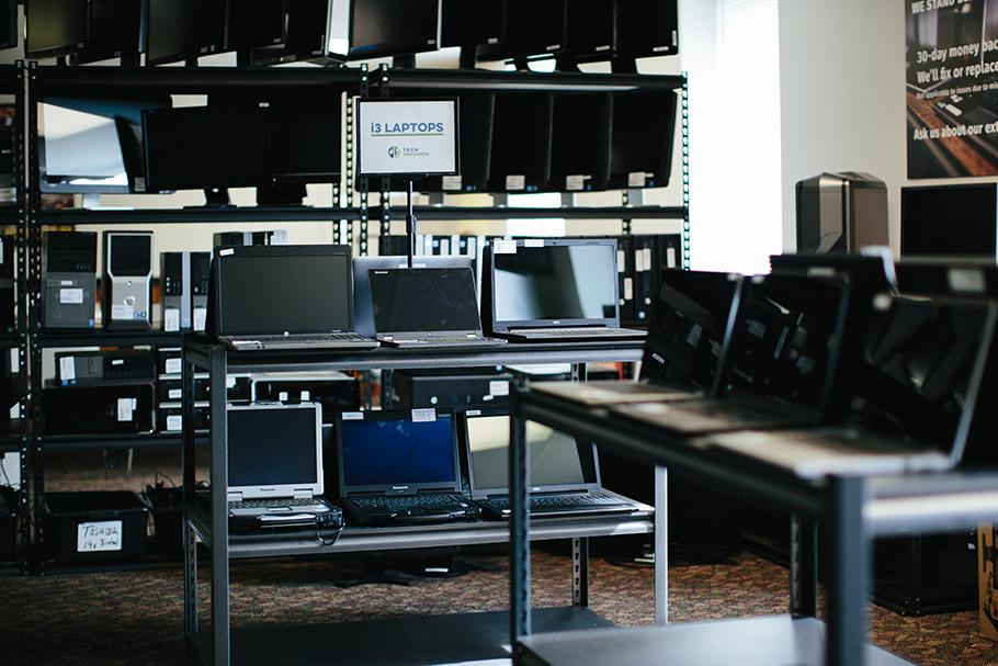 INdoor of retail store showing laptops