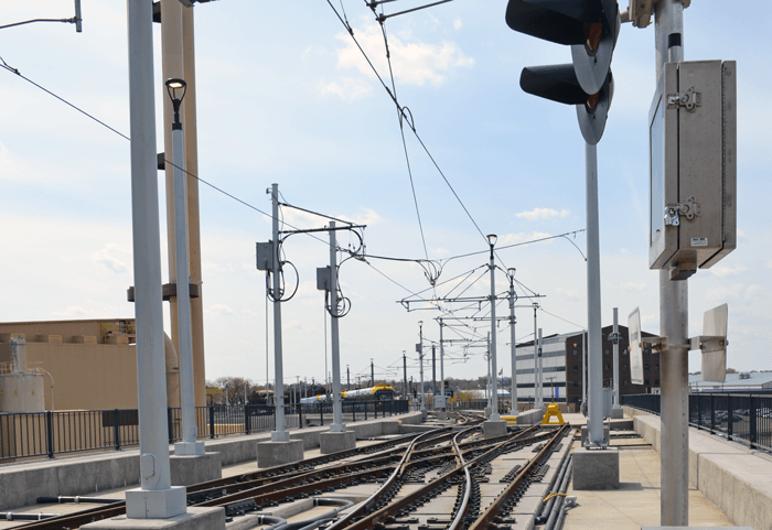 A photo of the overhead wires used by the train.