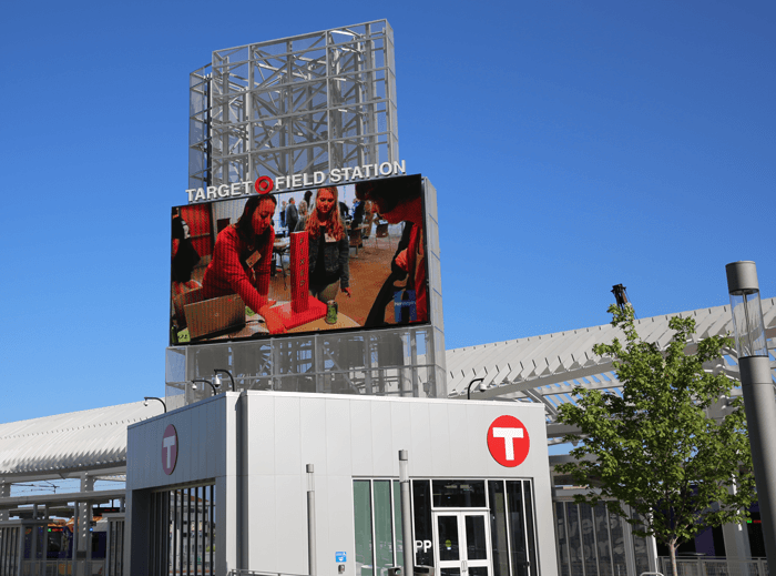 A photo of the huge outdoor television.