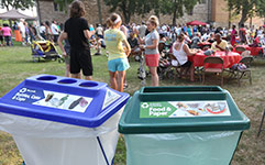 Recycling containers at outdoor event