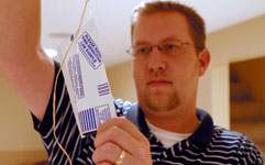 Man performing radon test