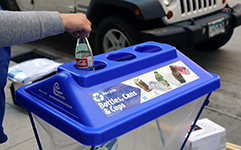 Recycling plastic bottle in recycling bin